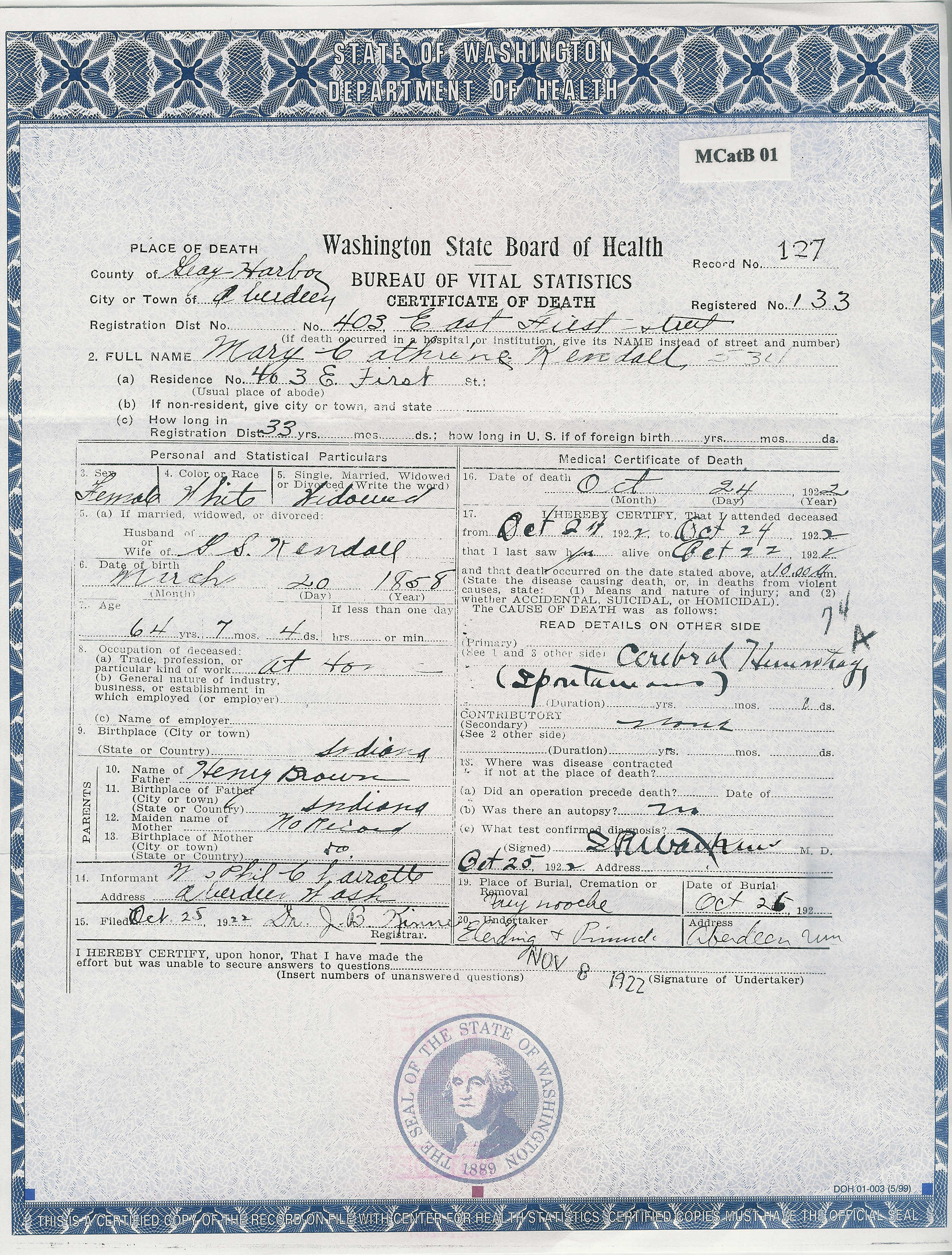 Documents Brown Mary Catherine Kendall Death Certificate